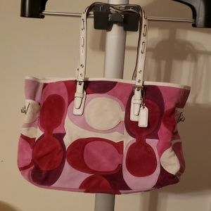 RARE Coach Suede and Leather Pink Multi Tote Bag